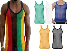 Rasta Stripe Cotton String Vest Mesh Fishnet Muscle Top Reggae White Black Blue