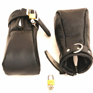 Real Cow Hide Leather Fist Mitts Gloves Restraint Bondage Lockable 2 Pieces