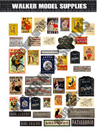 1/35 Scale Pre-Cut WW2 French building advertisement posters / signs. model