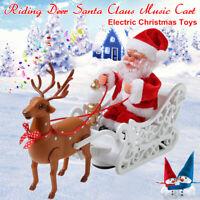 Électrique Musique Père Noël Poupée Élan Tirer Cart Jouet pour Enfants Cadeau +A