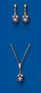 Sapphire and Diamond Set Pendant and Earrings Yellow Gold Drop Cluster