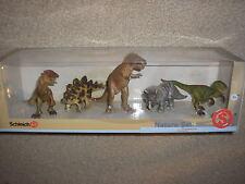 New Schleich Nature Set Dinosaurs 5 Pieces Set T-Rex Velociraptor Triceratops