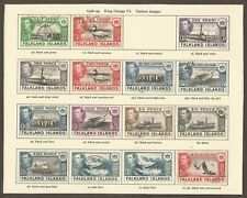 FALKLAND ISLANDS KGVI 1938-50 Collection of 15 Fine Used on Album Page (JB15204)
