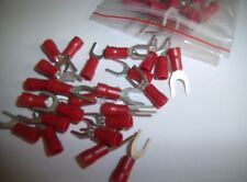 (25) Wire Spade Fork Connector Red Vinyl Terminal #10 Car Audio Speaker Amp New