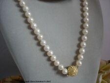 Echte Perlenkette rund weiß 9,5mm/ 65cm mit Zirkoniasteinen TOP Geschenk