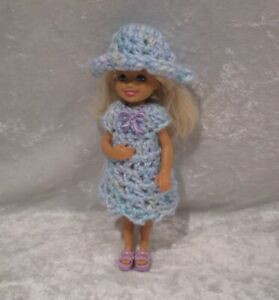 """Made to fit 5½"""" CHELSEA #01 Handmade Clothes, Crochet Dress & Hat Set"""