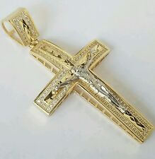 "Big 14K Yellow white Gold diamond cut  Jesus Crucifix Cross Pendent  2.5"" long"