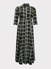 Torrid Challis Button Front Maxi Shirt Dress Black Plaid 2 2X 18 20 #44958