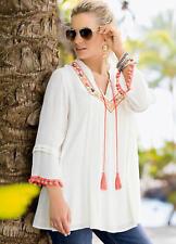 Gorgeous Crinkled BoHo Tunic with Mini Pom Pom and Tassel detail Size 8 NEW