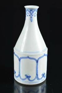 #6184: Japanese Old Imari-ware Blue&White Muffle painting FLOWER VASE Ikebana