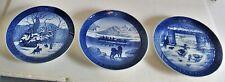 3 Royal Copenhagen Cobalt Blue Christmas Plates Denmark 1967 1968 1969