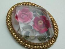 BEAUTIFUL VINTAGE LARGER THAN AVERAGE REVERSE CARVED DOUBLE ROSE LUCITE BROOCH;