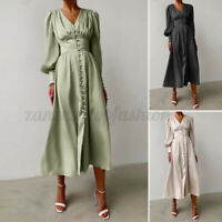Women Long Sleeve Silky Satin Vintage Dress Ladies Evening Party Gown Maxi Dress