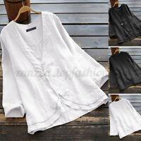 ZANZEA Women V Neck Long Shirt Tops Asymmetrical Hem Blouse Cotton Ethnic Tops