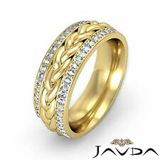 Round Diamond Mens Eternity Wedding Band Braided design 14k Yellow Gold 0.57Ct