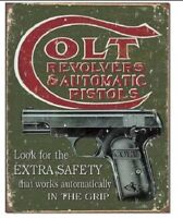 COLT Revolvers Pistols Extra Safety Distressed Retro Vintage Style Tin Sign