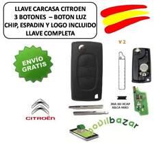 LLAVE CARCASA CITROEN C2 C3 C4 C5 C6 V2 HU83 LUZ CHIP ID46 433MHZ 3 BOTONES