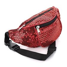 Ladies Girls Womens Red Sparkly Sequin Retro Bum Bag Brand New Festival Camping