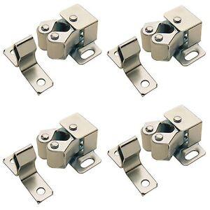 4 x ROLLER CATCH CUPBOARD CABINET DOOR  LATCH TWIN DOUBLE CATCHES CARAVAN BOAT