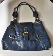 NEW JONES BOOTMAKER Dark Blue Real Leather Buckle Detail Shoulder Bag