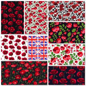 ROSE & HUBBLE 100% COTTON POPLIN POPPY GB UNION JACK ARMISTACE REMEMBRANCE DAY