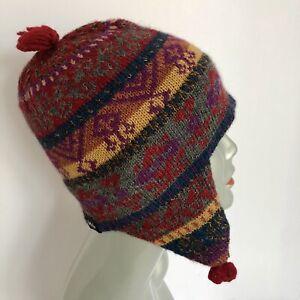 Turtle Fur CHULLO Knit Ski Hat 100% Alpaca Wool Tasseled Ear Flaps Winter Hat