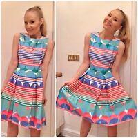 Taylor Colorful Geometric Print Fit Flare Skater Summer Dress US 6 UK 10