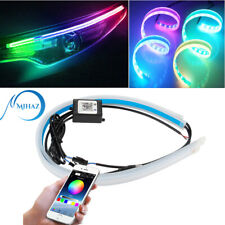2X RGB APP 60CM Slim Flexible LED DRL Daytime Running Strip Light For Headlight
