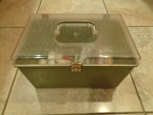 Vintage Wilson WIL-HOLD Green Plastic Sewing Box with Sewing Supplies - No Trays