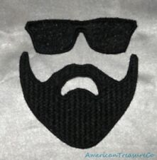 Embroidered Kanye Style Sunglasses & Beard 2-Pc Texture Patch Set Iron Or Sew On