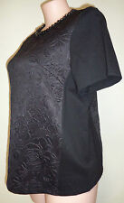 Belle Curve size 16 black beaded neckline top NWT New short sleeve