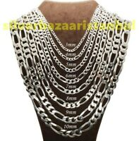 Handmade 925 Sterling Silver Figaro Mens Byzantine Kings Chain Necklace Pendant