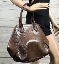 5dd5554a3588a7 Large Brown Mark. Avon Purse Faux Leather Crocodile Print Shoulder Bag