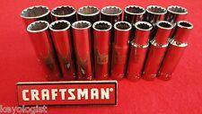 """CRAFTSMAN Socket Set 1/2"""" drive MM METRIC 12pt DEEP 15pc LASER ETCHED"""