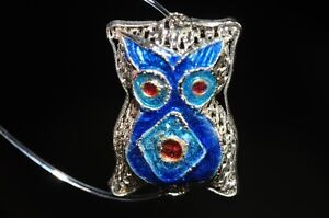 One/AsianFlair~Vintage Chinese CLOISONNE ENAMEL Meshed OWL Bead Pendant R0862