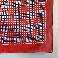 "Mod Plaid MCM 20"" Neckerchief Scarf Red White Blue Sheer Vintage 1950s"
