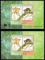 2 AUSTRALIA INDONESIA MINISHEET - 1 GOLD GILT YOUTH EXHIBITION OVERPRINT MINT