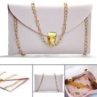 Ladies Pu Leather Envelope Clutch Chain Purse Handbag Tote Shoulder Hand Bag