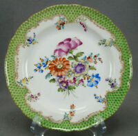 Carl Thieme Dresden Hand Painted Floral Green Fishscales Gold 7 3/4 Inch Plate D
