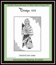 Crochet CAPE SHAWL Mohair Vintage DESIGN 624 Mail Order Pattern