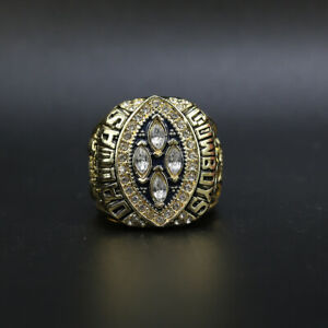 1993 Dallas Cowboys Super Bowl Championship Gold Ring Replica With Wooden Box
