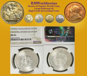 El Salvador 1925 Colon, Rare NGC 65, Mintage 2,000 coins Struck, Brilliant.