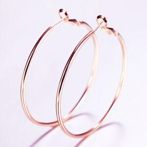 Big Large Rose Gold Womens Hoop Round Earrings smooth Earings Jewelry Ladies