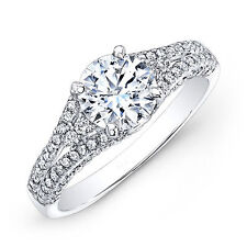 1.94 Ct Round Cut Diamond Engagement Rings 18K Solid White Gold Size M N