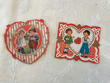 Vintage (2) Whitney Made Shaped Victorian Children Sailor Valentine Cards