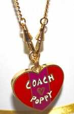 NEW COACH  POPPY  HEART LOCK GOLD NECKLACE 95345