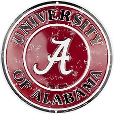 "University of Alabama Crimson Tide Embossed 12"" Circle Sign"