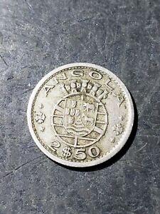 1956 Angola 2 1/2 Escudo Coin #3321