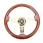 350mm 1.75 Deep Dish Heavy Duty 6 Bolt Steering Wheel Gold Chrome Spoke Wood