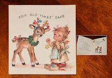 UNUSED Vintage MARJORIE COOPER RUST CRAFT CHRISTMAS CARD ANGEL REINDEER DEER